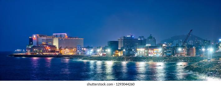 JEJU, SOUTH KOREA - APRIL 8, 2018: Jeju resort town illuminated in night, Jeju island, South Korea