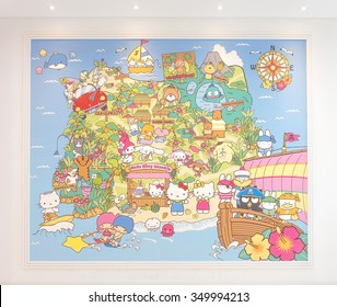 JEJU, SOUTH KOREA - NOV 28, 2015 : Hello Kitty Island Map on the Wall (scale in human size) in HELLO KITTY ISLAND MUSEUM & CAFE IN JEJU, One of tourist attractions in Jeju-do. Selective Focus. NOT TOY