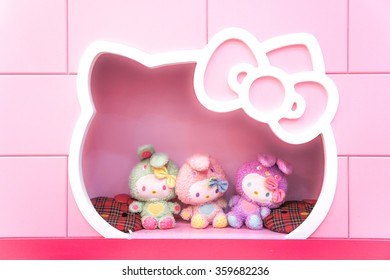 JEJU, SOUTH KOREA - NOV 28, 2015 : Hello Kitty House Scene Set up for Photo Booth (scale in human size) in HELLO KITTY ISLAND MUSEUM & CAFE IN JEJU, Seogwipo-si.