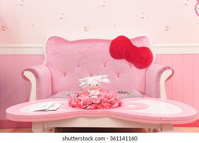 JEJU, SOUTH KOREA - NOV 28, 2015 : Hello Kitty House Scene Set up for Photo Corner, replica a living room, in HELLO KITTY ISLAND MUSEUM & CAFE IN JEJU, Seogwipo-si.
