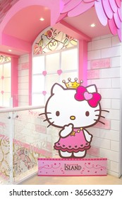 JEJU, SOUTH KOREA - NOV 28, 2015 : Hello Kitty House with Hello Kitty in pink dress paper die-cut (scale in human size) located in 3F HELLO KITTY ISLAND MUSEUM & CAFE IN JEJU, Seogwipo-si.
