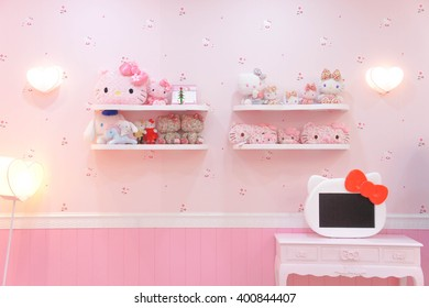 JEJU, SOUTH KOREA - NOV 28, 2015 : Hello Kitty House Scene Set up for Photo Corner, replica a living room, in HELLO KITTY ISLAND MUSEUM & CAFE in Seogwipo-si, 1 of the most famous tourist spot in Jeju