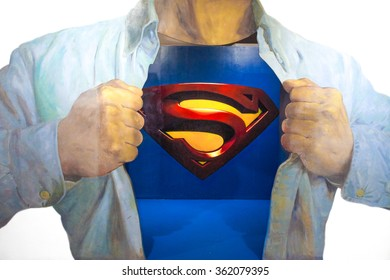 JEJU, SOUTH KOREA - NOV 29, 2015 : Photo of 3D Wall Painting of Superman, from a famous scene where Clark Kent is transforming into Superman by wearing on top of his shirt and reveal his Superman suit