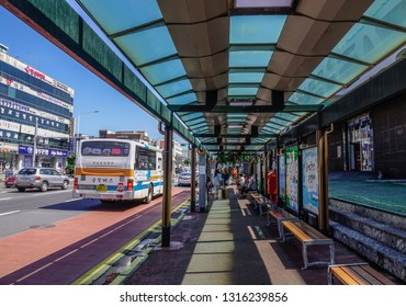 Jeju, South Korea - Sep 20, 2016. Bus station in Jeju Island, South Korea. Jeju Island is one of the top travel destinations in Asia.