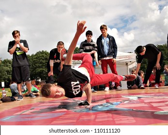 JEKABPILS, LATVIA - JUNE 2: An unidentified b-boy breakdances battle at an Dance competitions - Ghetto Games on June 2 2012 in Jekabpils, Latvia