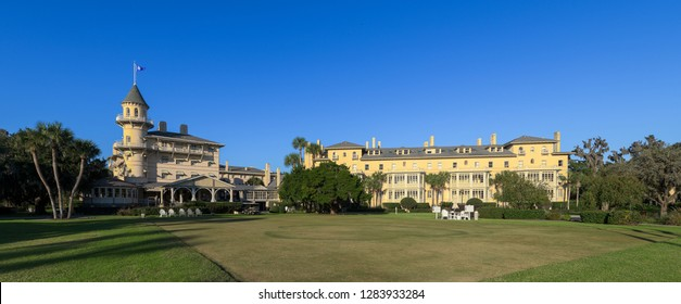 JEKYLL ISLAND, GEORGIA, USA - DECEMBER 4, 2018: Exterior of the historic Clubhouse on Riverview Drive in Jekyll Island