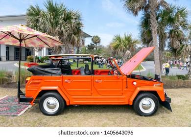 JEKYLL ISLAND, GEORGIA, USA - MARCH 17, 2018   A VINTAGE 1973 VW THING ON DISPLAY AT CAFFEINE AND OCTANE, A POPULAR CAR SHOW IN COASTAL GEORGIA.