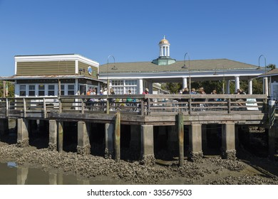 JEKYLL ISLAND, GEORGIA/USA - OCTOBER 25, 2014: Jekyll Island wharf and river. By legislative mandate, sixty-five percent of the island is and will remain in a mostly natural state.