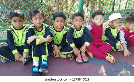 JELEBU, MALAYSIA - August 27, 2018 : PASTI kindergarten kids having fun on outdoors program with friends