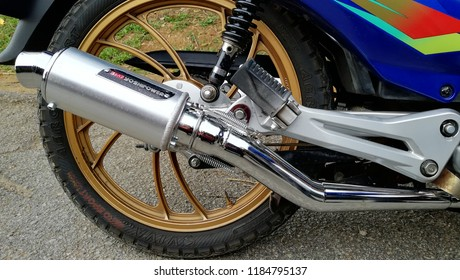 JELEBU,MALAYSIA-Sept 13,2018: racing motorcycle exhaust. A new motorcycle exhaust can dramatically change your bike's performance, style and sound.