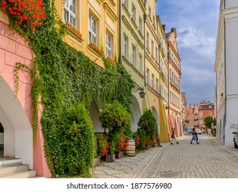 JELENIA GORA, LOWER SILESIA PROVINCE, POLAND -  SEPTEMBER 23, 2020: Arcade houses at the Marketplace surroundings.