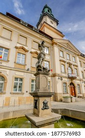 JELENIA GORA, LOWER SILESIA PROVINCE, POLAND -  SEPTEMBER 23, 2020: The Neptune fountain in the front of the city hall.