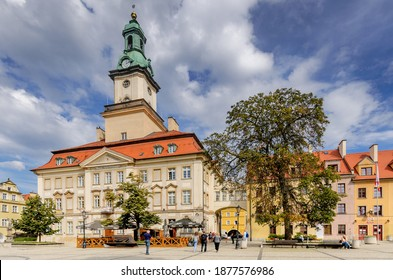 JELENIA GORA, LOWER SILESIA PROVINCE, POLAND -  SEPTEMBER 23, 2020: The city hall at the Marketplace.