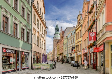 JELENIA GORA, LOWER SILESIA PROVINCE, POLAND -  SEPTEMBER 23, 2020: 1st May street, Wojanowska tower.