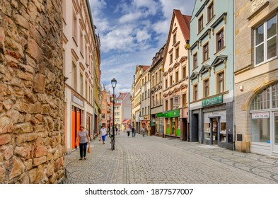 JELENIA GORA, LOWER SILESIA PROVINCE, POLAND -  SEPTEMBER 23, 2020: 1st May street from Wojanowska Gate.