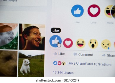Jelenia Gora, Poland - February 24, 2016: New Facebook like button 6 Empathetic Emoji. Facebook is a well-known social networking service.