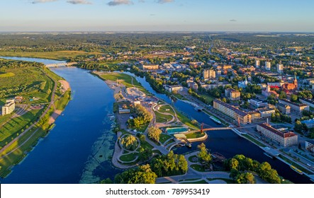 Jelgava aerial view in summer evening, Lielupe river and Pasta island (Pasta sala) visible