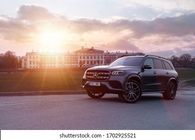Jelgava, Latvia 12 April 2020, Mercedes-Benz third generation, X167, GLS-Class SUV, front view. Biggest Luxury crossover in Europe 2021 Stands by castle palace at sunset background mood.