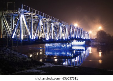 Jelgava Latvia bridge in the night lights