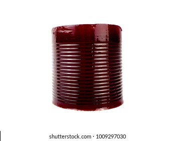 Jellied, canned cranberry sauce isolated on a white background