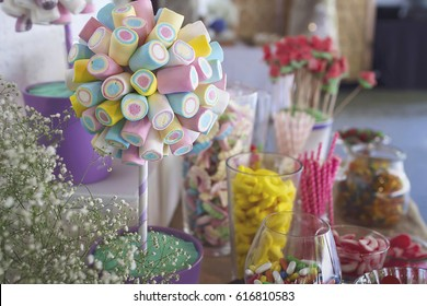 Jellies and candies in a party