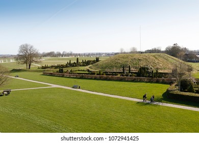 Jelling, Denmark, Apr 18, 2018. The most northern viking burial mound of the two in Jelling. The monumnt area enjoys UNESCO World Heritage patronage and comprises a modern viking museum.