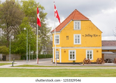 JELLING, DENMARK - MAY 9, 2017:  Street in center of town on may 9, 2017 in Jelling, Denmark.