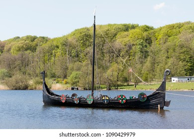 Jelling, Denmark, May  9, 2018. Replica viking ship. The ship is seaworthy and sails with tourists during the summer.