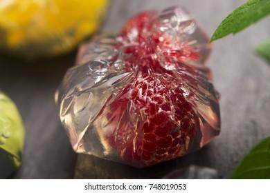 Jello dessert with fruits