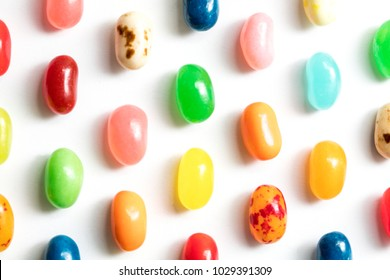Jelly beans for easter shot close up on a white background
