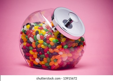 Jelly beans in glass container