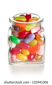 the jelly beans in glass jar