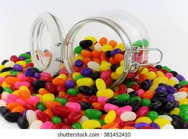 Jelly Beans spilt from Glass Jar with Lid