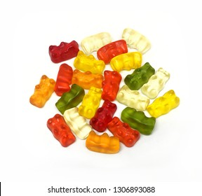 Jelly bear.Jelly.Marmalade.Marmalade bear.Sugar.Pleasure.Isolated white background.