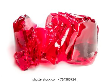 jelly cut as flower. sweet jelly as red tulip. red coral berry sweet pieces of clean jelly isolated. Homemade Red Cherry Gelatin jelly Dessert in a Bowl. natural berry dessert for kids and adults