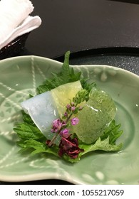 Jelly desserts background green leaf flower by Japanese style