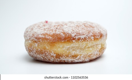 Jelly filled doughnuts with powdered sugar isolated on white background