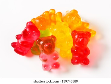 jelly gummy bears on a white background
