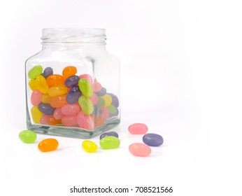 jellybean sweets in a jar isolated on a white background