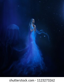 A jellyfish girl floating in levitation on a dark ocean floor. A beautiful, white dress and with tentacles fluttering about the water. Space, alien creation. Art photo.