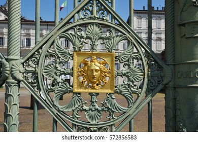The jellyfish, the greek medusa, on the railing of the Royal Palace in Turin, Piedmont, Italy