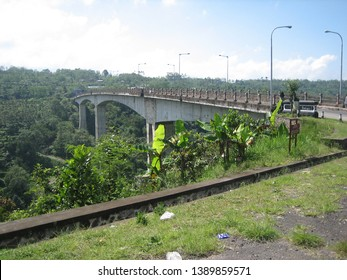 Jembatan Tukad Bakung Bridge in Bali. The longest bridge in asia connect three villages. Built in 2006. 360 meter long, 9 width. Beautiful view with terrace rice fields and trees.Old strong sturdy