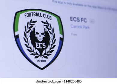 JEMBER, EAST JAVA, INDONESIA, August 02, 2018. ECS FC app in play store. close-up on the laptop screen.