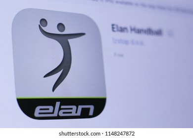 JEMBER, EAST JAVA, INDONESIA, August 02, 2018. Elan Handball app in play store. close-up on the laptop screen.