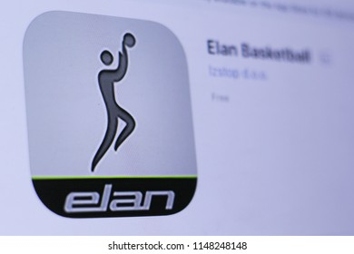JEMBER, EAST JAVA, INDONESIA, August 02, 2018. Elan Basketball app in play store. close-up on the laptop screen.