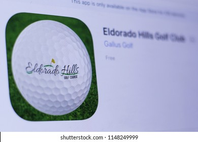 JEMBER, EAST JAVA, INDONESIA, August 02, 2018. Eldorado Hills Golf Club app in play store. close-up on the laptop screen.