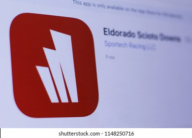 JEMBER, EAST JAVA, INDONESIA, August 02, 2018. Eldorado Scioto Downs app in play store. close-up on the laptop screen.