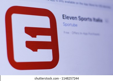 JEMBER, EAST JAVA, INDONESIA, August 02, 2018. Eleven Sports Italia app in play store. close-up on the laptop screen.