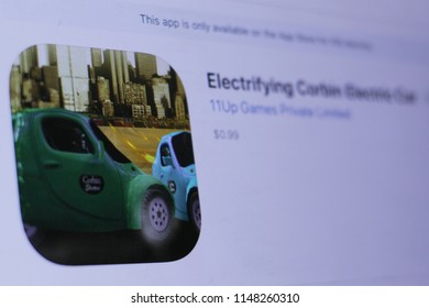 JEMBER, EAST JAVA, INDONESIA, August 02, 2018. Electrifying Corbin Electric Car app in play store. close-up on the laptop screen.