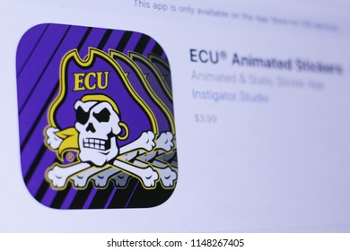 JEMBER, EAST JAVA, INDONESIA, August 02, 2018. ECU® Animated Stickers app in play store. close-up on the laptop screen.
